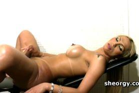 Perky tits tranny Suzy Valenca massaging cock