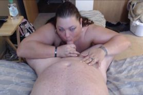 Fat MILF eating his cock