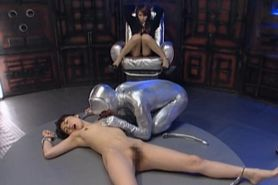 Appealing jap sex slave gets played with her pink clit