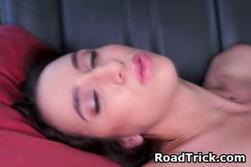 Brunette Sucks Dick And Takes Facial In Backseat