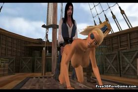 Busty 3D pirate babe sucks and rides a black cock