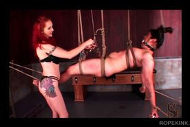 BDSM roped sex slave submitted to torture