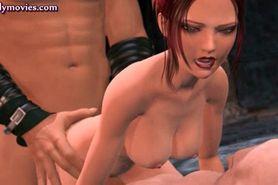 Animated redhead gets holes fucked