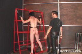 Sex slave in chains taking a hardcore BDSM sex treatmen