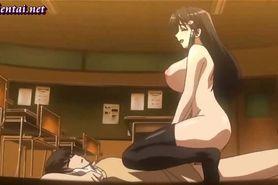 Wild anime teacher enjoys a dick