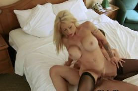 Blonde Cheater With Massive Fake Tits Riding Dick