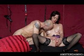 Hot slut fucked in her slit while she eats cock in 3som