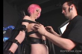 BDSM amateur slut gets strapped and teased