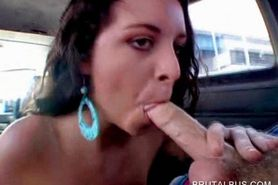 Curly chick takes cock for a blow in the bus