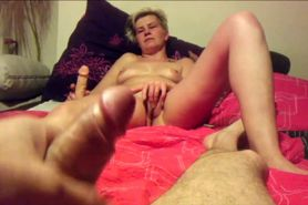 Sexy MILF and her lover masturbate