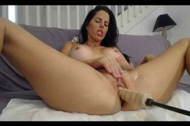 Brunette perfection trying out her new dildo machi