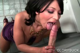 Nympho brunette masturbating and fellating cock on glor