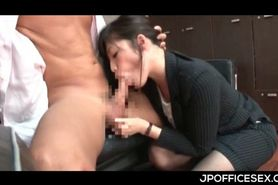 Japanese secretary on knees eating bosses loaded shaft