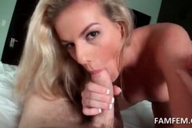 Blonde hot girlfriend eating cock like a pornstar in PO