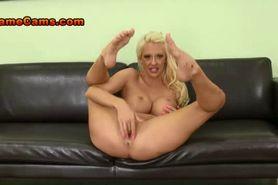 Leggy Blonde Fingers Her Tight Twat
