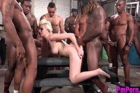 Jenna Ivory ebony gangbang cumshots