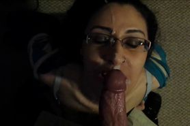 Brunette with glasses cocksucking