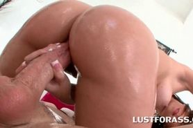 Oiled up slut gets butt hole smashed from behind