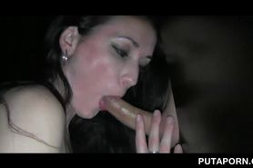 Slut fucked on gloryhole gives blowjob