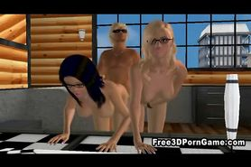 Two 3D cartoon hotties getting fucked hard