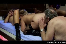 Amsterdam hoe sharing mature pecker in dirty 3some