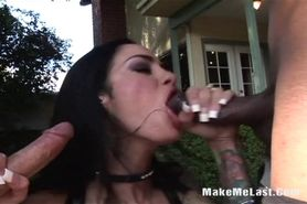 Big Tits Brunette Takes Two Cocks On