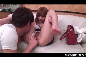 Teen Japanese doll orally pleased and pussy tickled in