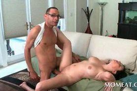 Huge tits slut takes big black cock and jizz shot