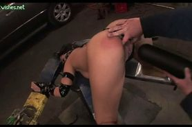 Chained babe gets massive black dildo