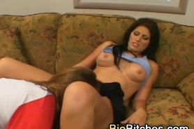 Natural brunette with pierced clit