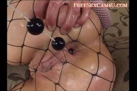 Fishnet babe fucked  in the ass