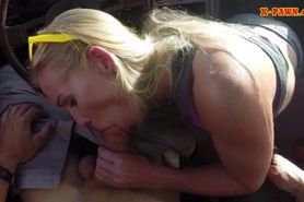 Blonde bimbo sells herself for a fuck