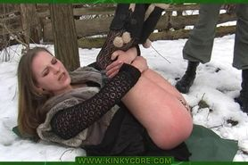 Outdoor bdsm punishment in the snow