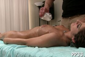 Delighting babe with oil massage