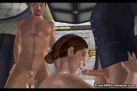 3D cartoon stewardess babe gets a double teaming
