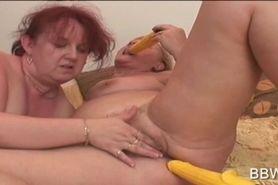 Mature BBW lesbians dildoing snatches