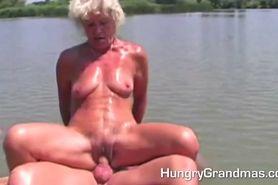 Granny fucking in the garden