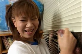Kinky jap school babe rubbing her teachers dick in the