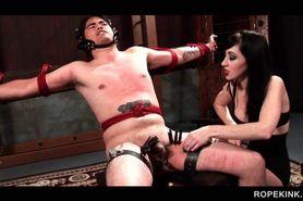 Kinky mistress torturing her male sex slave