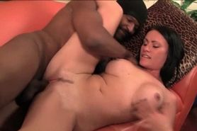 Sexy brunette sucks and fucks black boner