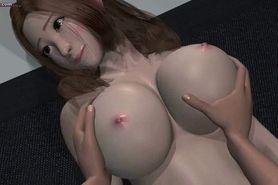 Elegant anime babe gets fingered