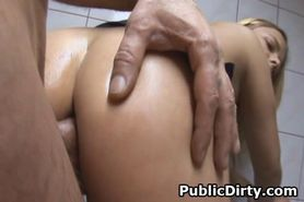 Cumshot On Tits In Public Bathroom