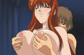 Big meloned anime gives oral
