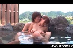 Naked sexy Japanese gets pussy teased in an outdoor bat