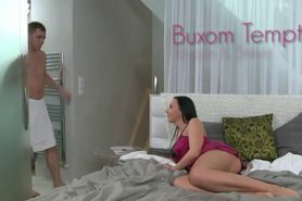 Buxom brunette fucked by dude in bedroom
