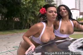 Big Booty Latinas Covered In Soap Washing Cars