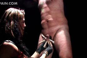 Roped male sex slave submitted to dick clipping