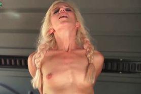 Skinny blonde taking massive dick