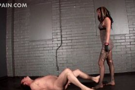Ball busting mistress tortures sex slaves shaft