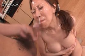 Asian slut getting hardcore bukkaked on knees
